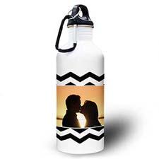Personalized Photo Black Chevron Water Bottle