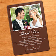 Wedding Photo Puzzle Anouncement, 5x7 Chocolate