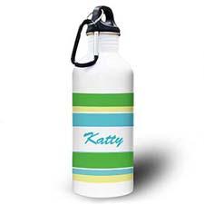 Personalized Photo Green Yellow Stripe Water Bottle