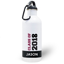 Personalized Photo Black Class Of 2018 Water Bottle