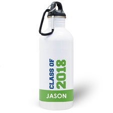 Personalized Photo Green Class Of 2017 Water Bottle