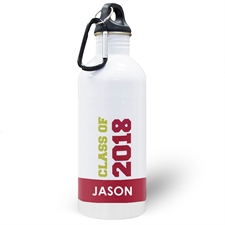 Personalized Photo Red Class Of 2017 Water Bottle