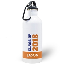 Personalized Photo Orange Class Of 2017 Water Bottle