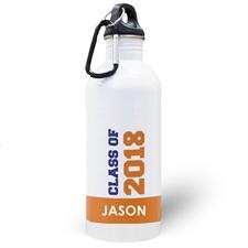 Personalized Photo Orange Class Of 2018 Water Bottle