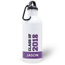 Personalized Photo Purple Class Of 2018 Water Bottle