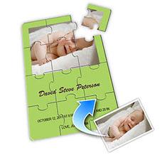 Birth Announcement Photo Puzzle, 5x7 Lime