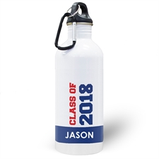 Personalized Photo Blue Class Of 2018 Water Bottle