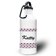 Personalized Photo Black Fuchsia Polka Dots Water Bottle