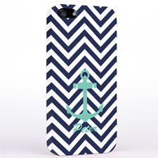 Aqua Anchor Black Chevron