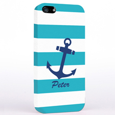 Navy Anchor Turquoise Strips