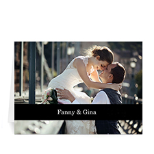 Classic Black Photo Wedding Cards, 5x7 Folded Causal