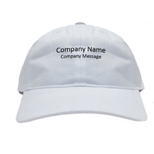 Custom Imprint Company Name, White Baseball Cap