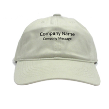 Custom Imprint Company Name, Light Khaki Baseball Cap
