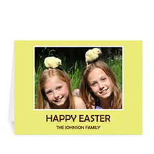 Easter Yellow Photo Greeting Cards, 5x7 Folded