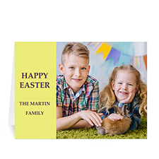 Easter Yellow Photo Greeting Cards, 5x7 Folded Modern