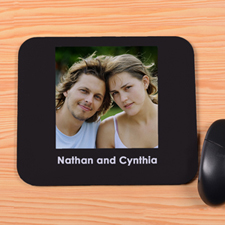 Personalized Black Photo And Words Mouse Pad