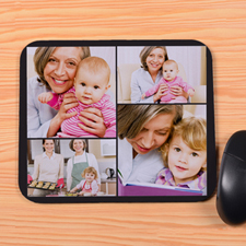 Personalized Black 4 Collage Mouse Pad
