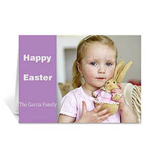 Easter Purple Photo Greeting Cards, 5x7 Folded Modern