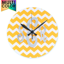 Yellow Chevron Monogram Acrylic Clock