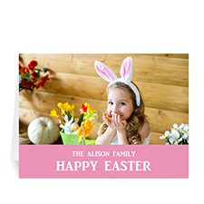 Easter Pink Photo Greeting Cards, 5x7 Folded Simple