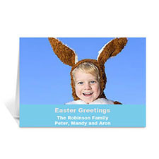 Easter Blue Photo Greeting Cards, 5x7 Folded Simple