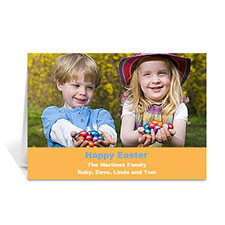 Easter Orange Photo Greeting Cards, 5x7 Folded Simple