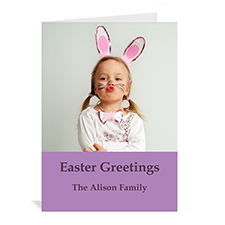 Easter Purple Photo Greeting Cards, 5x7 Portrait Folded Simple