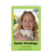 Easter Green Photo Greeting Cards, 5x7 Portrait Folded Causal