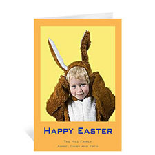 Easter Orange Photo Greeting Cards, 5x7 Portrait Folded Causal