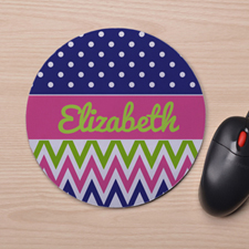 Custom Printed White Polka Dots Colorful Chevron Design Mouse Pad