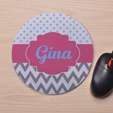 Custom Printed Aqua Polka Dots Grey Chevron Design Mouse Pad
