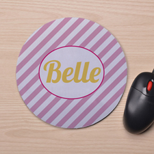 Custom Printed Pink Stripes Design Mouse Pad