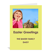 Easter Yellow Photo Invitation Cards, 5x7 Portrait Folded