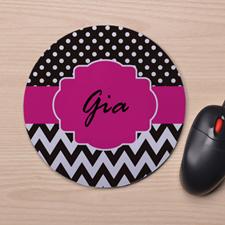 Custom Printed Black & White Polka Dots Chevron Design Mouse Pad