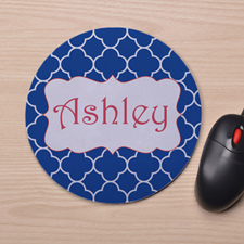 Custom Printed Blue Clover Design Mouse Pad