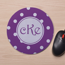 Custom Printed Purple White Polka Dots Design Mouse Pad