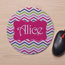 Custom Printed Colorful Chevron Design Mouse Pad