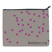 Print Your Own Fuchsia Natural Polka Dots Bag (8 X 10 Inch)