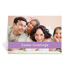 Easter Purple Photo Cards, 5x7 Folded Causal