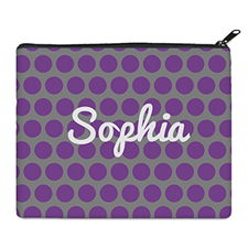 Print Your Own Purple And Grey Large Dots Bag (8 X 10 Inch)