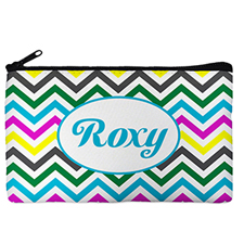 Custom Design Your Own Yellow Colorful Chevron Makeup Bag (5 X 8 Inch)