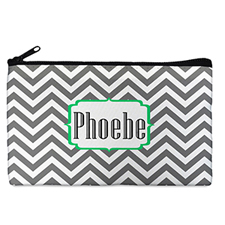 Custom Design Your Own Grey Chevron Makeup Bag (5 X 8 Inch)