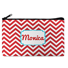 Custom Design Your Own Red Chevron Makeup Bag (5 X 8 Inch)