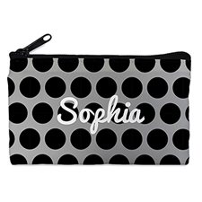 Custom Design Your Own Black Grey Large Dots Makeup Bag (5 X 8 Inch)