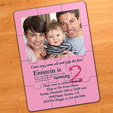 Easter Pink Photo Puzzle Invitation, 5x7