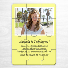 Easter Yellow Photo Puzzle Invitation, 5x7
