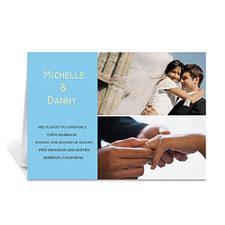 Elegant Collage Blue Wedding Announcement