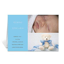 Elegant Collage Blue Birth Announcement