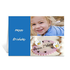 Elegant Collage Classic Blue Birthday Greetings