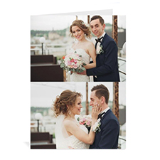 Classic Two Photo Collage Wedding Card, Portrait
